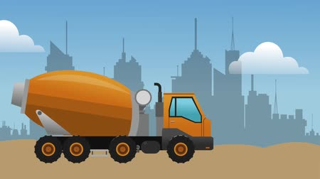 maintenancetools : Cement truck passing by city under construction High definition colorful scenes