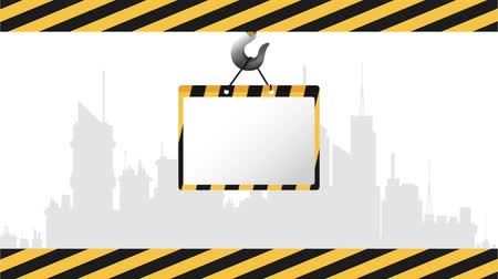 maintenancetools : Under construction Crane hook with blank sign High definition colorful scenes