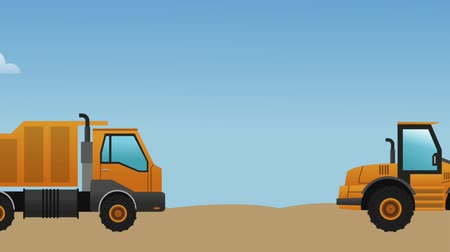 maintenancetools : Differents construction vehicles passing by construction zone High definition colorful scenes