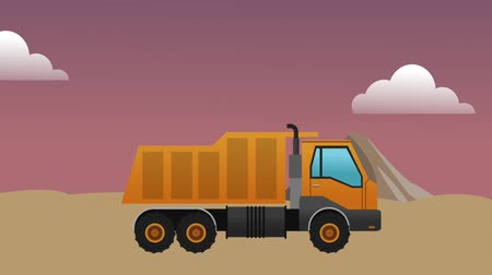 maintenancetools : Cargo truck passing by construction zone High definition colorful scenes Stock Footage
