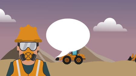 maintenancetools : Worker with blank speech bubble over construction zone High definition colorful scenes