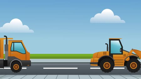 maintenancetools : Construction vehicles on road High definition colorful scenes Stock Footage