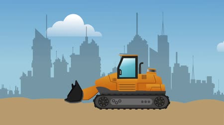 maintenancetools : Backhoe working on construction zone over cityscape High definition colorful scenes