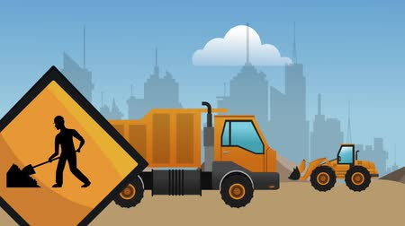 maintenancetools : Construction vehicles Passing by under construction zone High definition colorful scenes Stock Footage