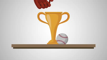 バット : chelf with trophy baseball animation animation 動画素材