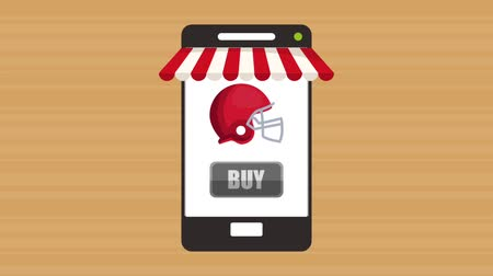 шлем : smartphone with buy online sport equipment application  illustration design Стоковые видеозаписи
