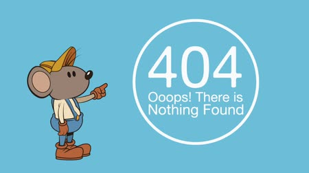 caricatura : mouse character with error 404 animation  illustration design