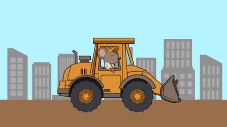 recondition : mouse builder with excavator character animation  illustration design