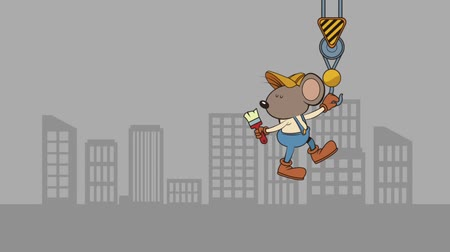 recondition : mouse builder with brush character animation  illustration design Stock Footage