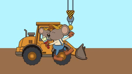 recondition : mouse builder hanging in crane character animation  illustration design