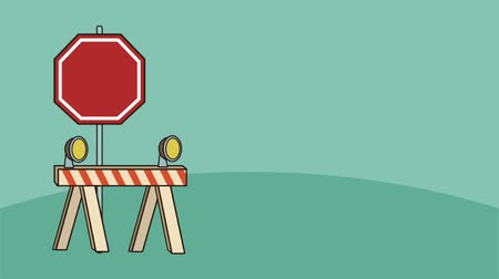 pictograma : construction caution set signals animation Stock Footage