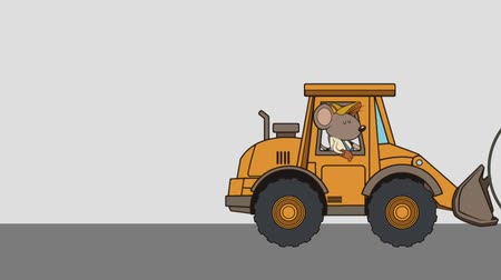 карикатура : mouse character with excavator error 404 animation  illustration design