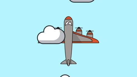 airplane engine : airplane flying animation icon  illustration design Stock Footage