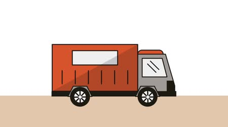 poštovní : truck with container delivery service animation  illustration design