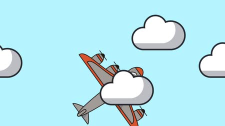 prive jet : airplane flying animation icon  illustration design Stockvideo