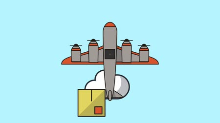 クーリエ : airplane flying with boxes delivery service animation  illustration design