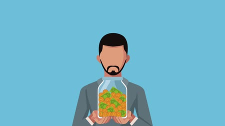 membro : businessman with jar money avatar animation  illustration design Vídeos
