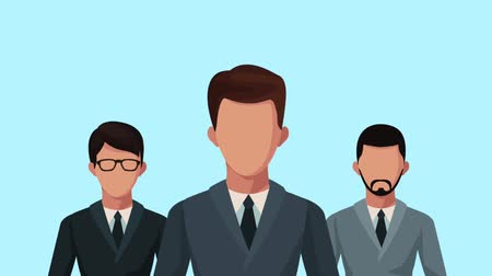 consultante : groupe d'hommes d'affaires avec avatars ampoule animation conception illustration