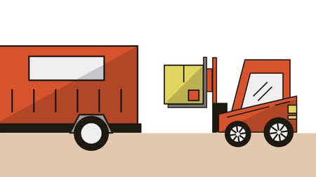доставка : forklift and truck delivery service animation  illustration design