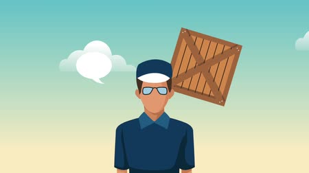 container terminal : Courier with blank speech bubbles over wooden boxes falling down background High definition animation colorful scenes