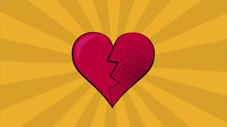 fission : Pop art heart broken over striped pink background High definition animation colorful scenes