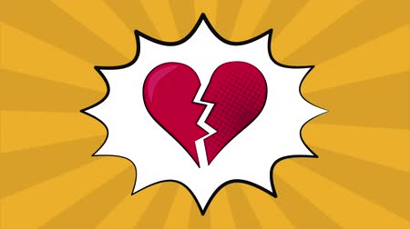 cheat : Pop art heart broken over striped pink background High definition animation colorful scenes