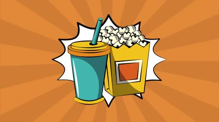 heroes : Pop art soda and pop corn on bubble over pink background High definition animation colorful scenes Stock Footage