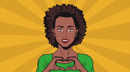 estalo : Pop art afro woman cartoon doing heart shape with hands High definition animation colorful scenes