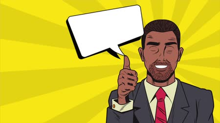 denken : Pop art businessman with blank speech bubble over colorful background High definition animation colorful scenes
