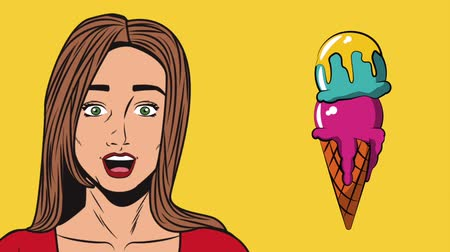 popart : Pop art woman surprised with ice cream cone High definition animation colorful scenes