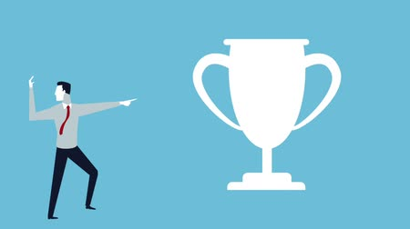 índice : successful business man with trophy avatar animation illustration design Vídeos