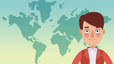 cartografia : Young man talking with blank bubble speech over world map background High Definition colorful animation scenes