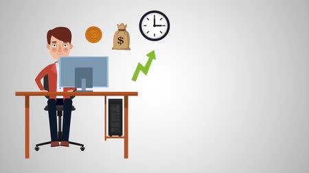 beleggen : Young businessman in computer making money online High Definition colorful animation scenes Stockvideo