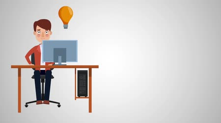 invenção : Businessman working on computer with big idea High definition animation colorful scenes