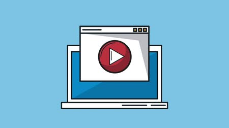nesnel : Playing video from laptop over blue background High definition colorful animation scenes