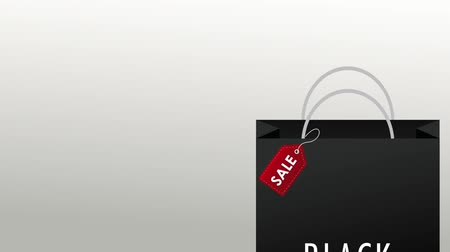 благодарение : Black friday shopping bag sale over white background High definition colorful animation scenes
