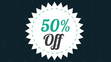procent : Fifty percent off discount stamp over black background High definition colorful animation scenes