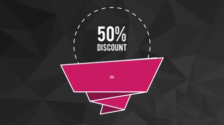 fifty : Fifty percent sales discounts special offer in ribbon banner emblem High definition colorful animation scenes