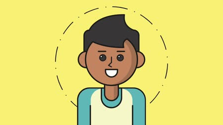 awatar : Young man smiling cartoon over yellow background High definition colorful animation scenes