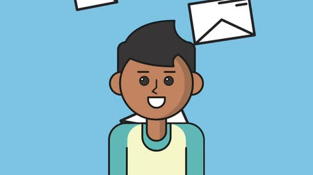 koperta : Young man talking over envelopes falling background High definition colorful animation scenes Wideo