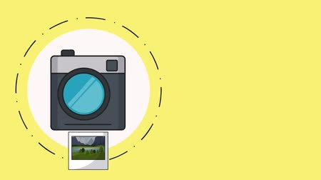 card pin : Instant camera taking photos of landscape High definition colorful animation scenes