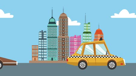 black cab : Taxi passing on road over cityscape High definition coloful animation scenes