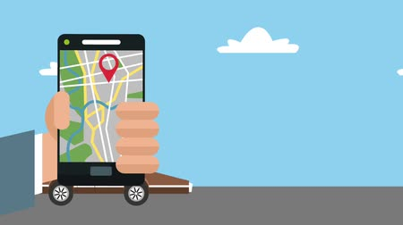 rota : Using GPS app from smartphone to travel with car High definition coloful animation scenes Stok Video