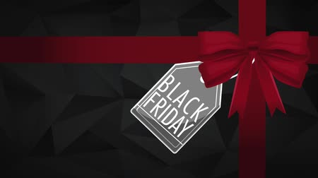 péntek : Black friday design with gift ribbon black background High Definition colorful animation scenes