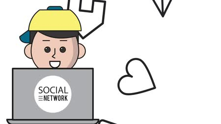 мультфильмы : Guy with laptop on social networks cartoons