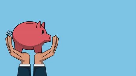 abundância : Hands holding piggy savings over blue background