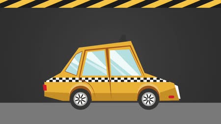 black cab : Taxi driver with smartphone app over black and yellow background High Definition animation colorful scenes