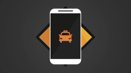 black cab : Smartphone taxi aplication over black background High Definition animation colorful scenes Stock Footage