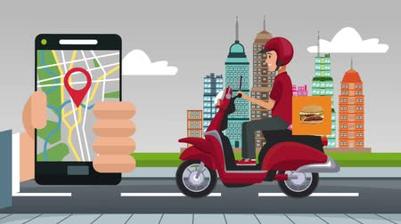 corriere : Fast food online delivery from smartphone at city High Definition animation colorful scenes Filmati Stock