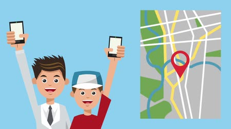 rota : Dad and boy using GPS application from smartphones High Definition animation colorful scenes Stok Video